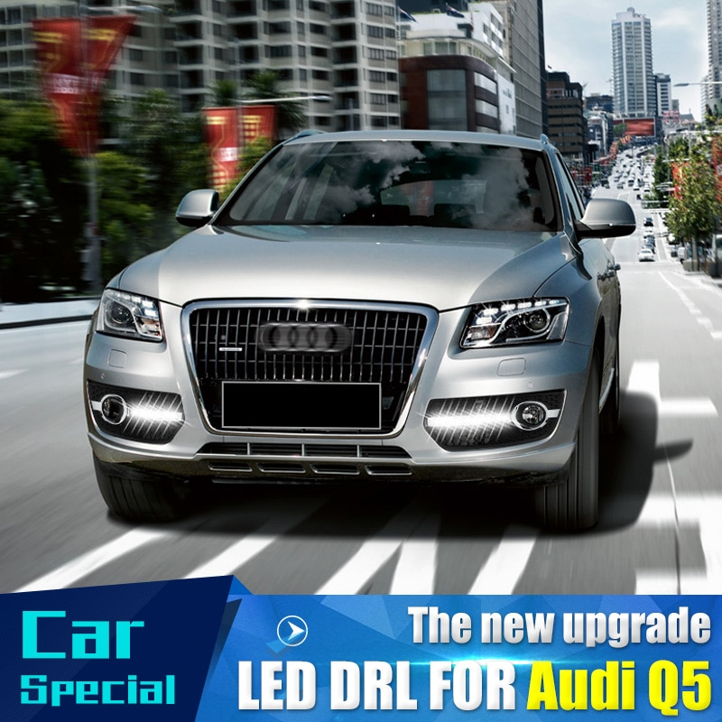 1 ensemble pour Audi Q5 2009 2010 2012 2013 lumière du jour LED de voiture DRL feux de jour brouillard lampe frontale couverture de voiture style