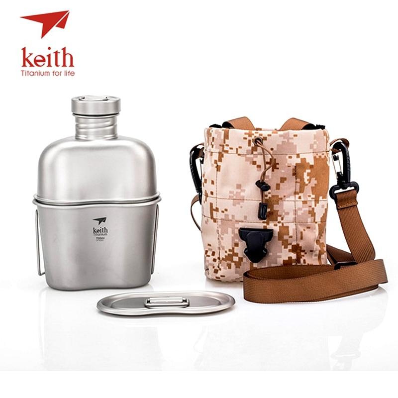 Tetera deportiva de titanio Keith y fiambrera de titanio para Camping, botellas de agua del ejército, olla de agua ultraligera Ti3060