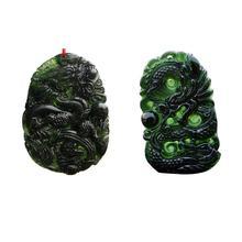 자연 검은 녹색 옥 펜던트 드래곤 모양의 수제 옥 데스크탑 장식품 공예품 행운 부적 cuarzo piedra 자연