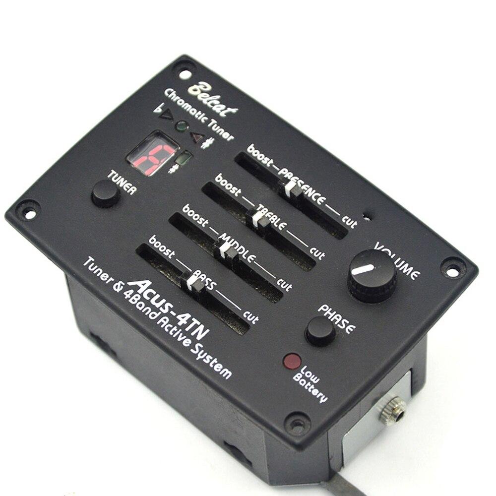Belcat ACUS-4TN guitare pick-up 4 bandes EQ avec accordeur & Phase FND chromatique Tuner 4 bandes egaliseur Preamp
