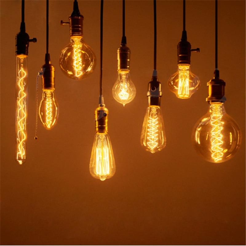 CLAITE Vintage Edison bombillas Retro lámpara incandescente E27 40 W/60 W 220V Retro filamento bombilla para lámpara colgante