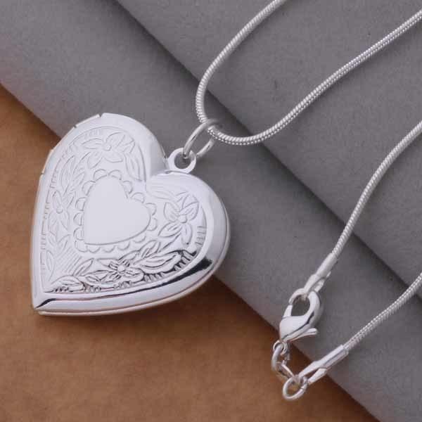 An736 caliente de Plata de Ley 925 collar de plata 925 colgante de joyería de moda patrones de superficie corazón/heaapvha Bimajzta