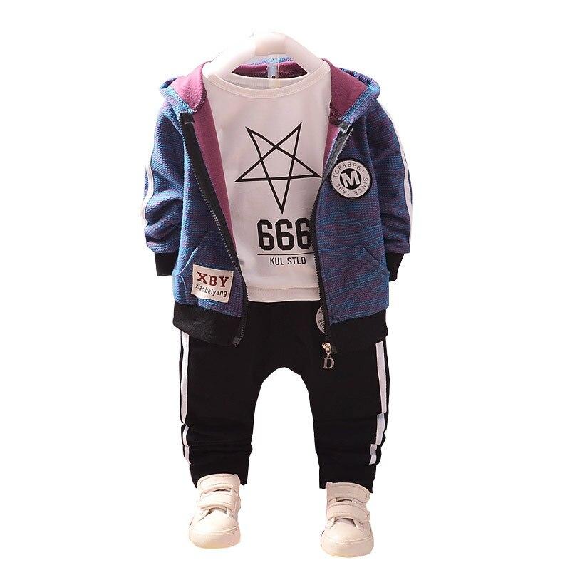 Ropa de algodón para niños a la moda, trajes para bebés, niños y niñas, sudaderas con capucha, pantalones, 3 unids/set, ropa deportiva para niños para primavera y otoño, chándal