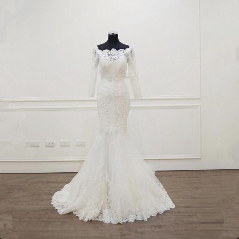Vestidos de novia de manga larga de encaje sirena vestido de novia con tul vestidos de novia de boda vestidos de novia