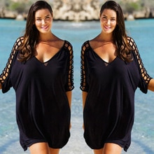 Nouvelle mode Sexy femmes grande taille vêtements de plage vêtements de plage noir couvrir caftan dames Mini robe