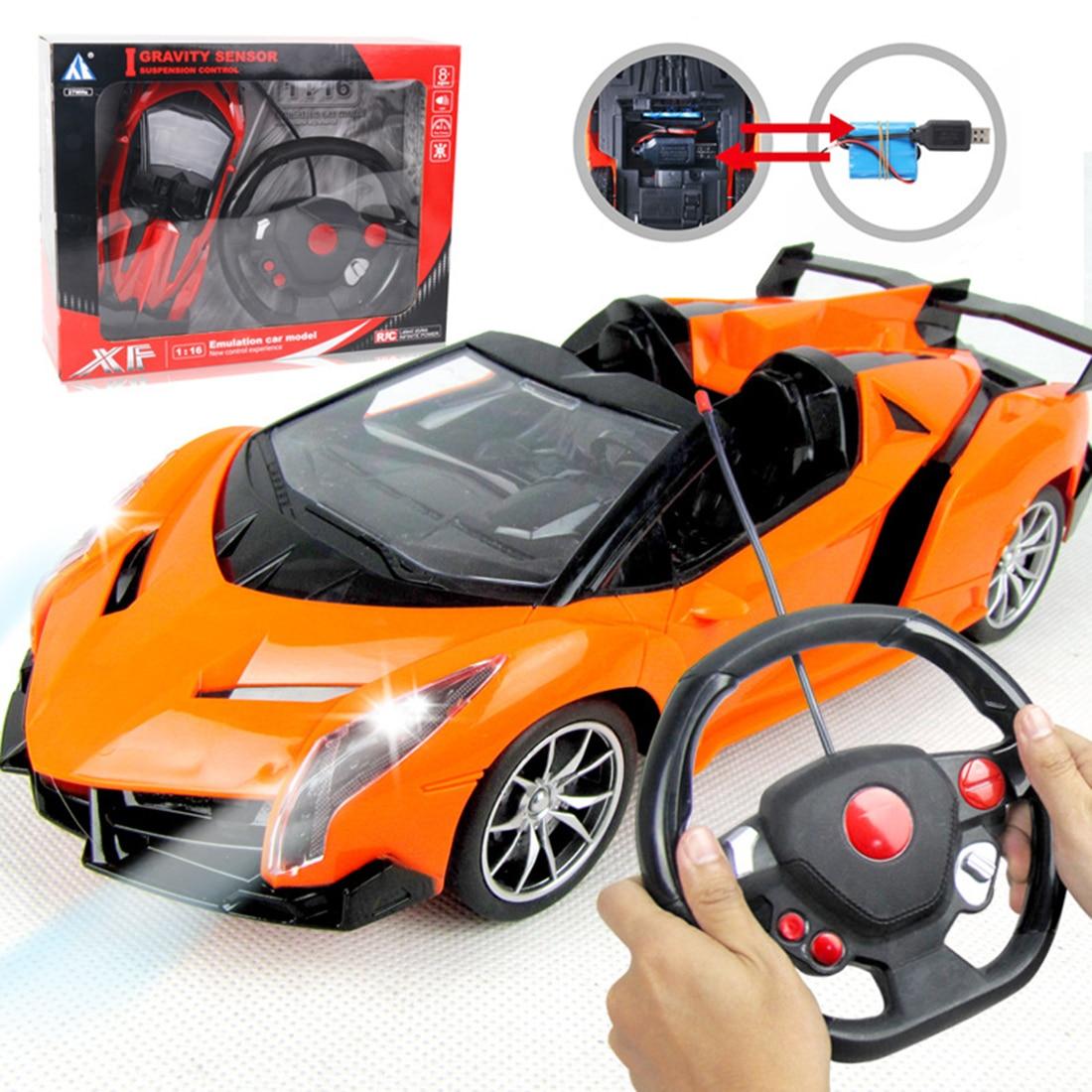 116 28cm 27MHZ Children RC Car Toy Grativity Sensor Electric Four-channel Wireless RC Drift Car Steering Wheel Remote Control