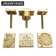 قالب نحاسي مخصص من JINXINYANG قالب نحاسي مصنوع من الجلد والنحت الخشبي يحمل علامة تجارية للطباعة على الخبز وكعك من الجلد أدوات تسخين حديد