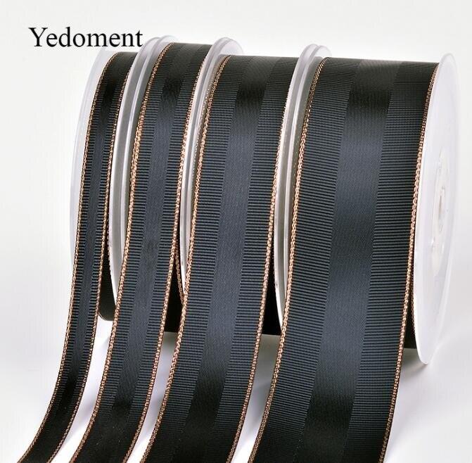 17121302, recién llegado, 10 yardas/lote 9mm/16mm/25mm/38mm Borde de oro rosa grosgrain y cintas de satén, embalaje de regalo DIY hecho a mano