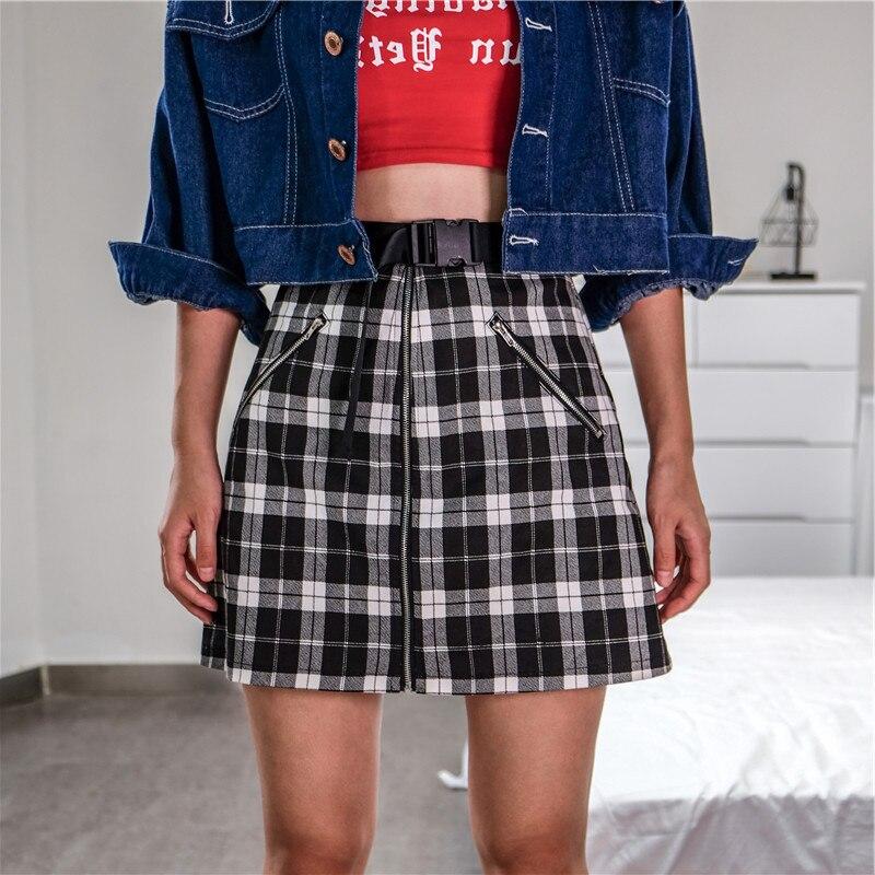 Femmes Sexy jupe courte à carreaux Punk Rock avant fermeture éclair à carreaux boucle ceinture Harajuku Streetwear été taille haute bas femme