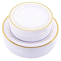 gold disposable plates dessertappetizer plates with gold rim real china look for weddings partiescateringbirthday parties