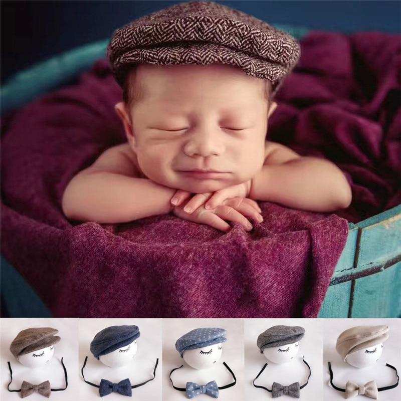 Bebé recién nacido Peaked boina gorra sombrero + pajarita foto accesorios de fotografía conjunto de moda bebé Instagram Photoes-tomar accesorio