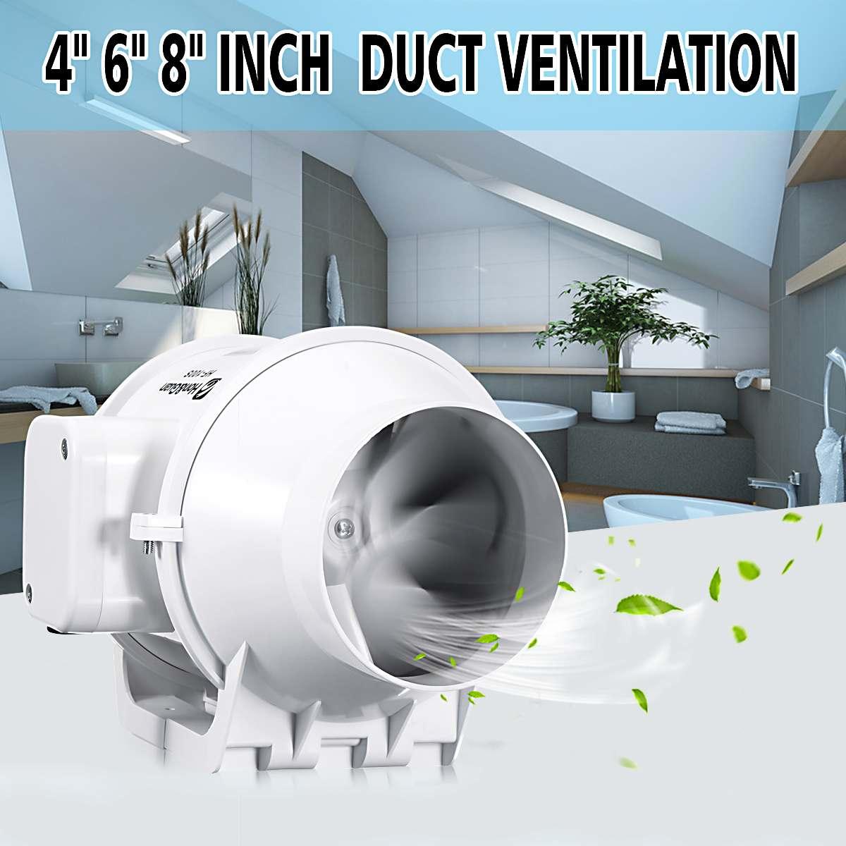 4'' 6'' 8'' Vent Inline Ventilation Tube Duct Fan Air Blower Speed Controller Pipe Exhaust Fan 220V Booster Turbo Fan 100mm