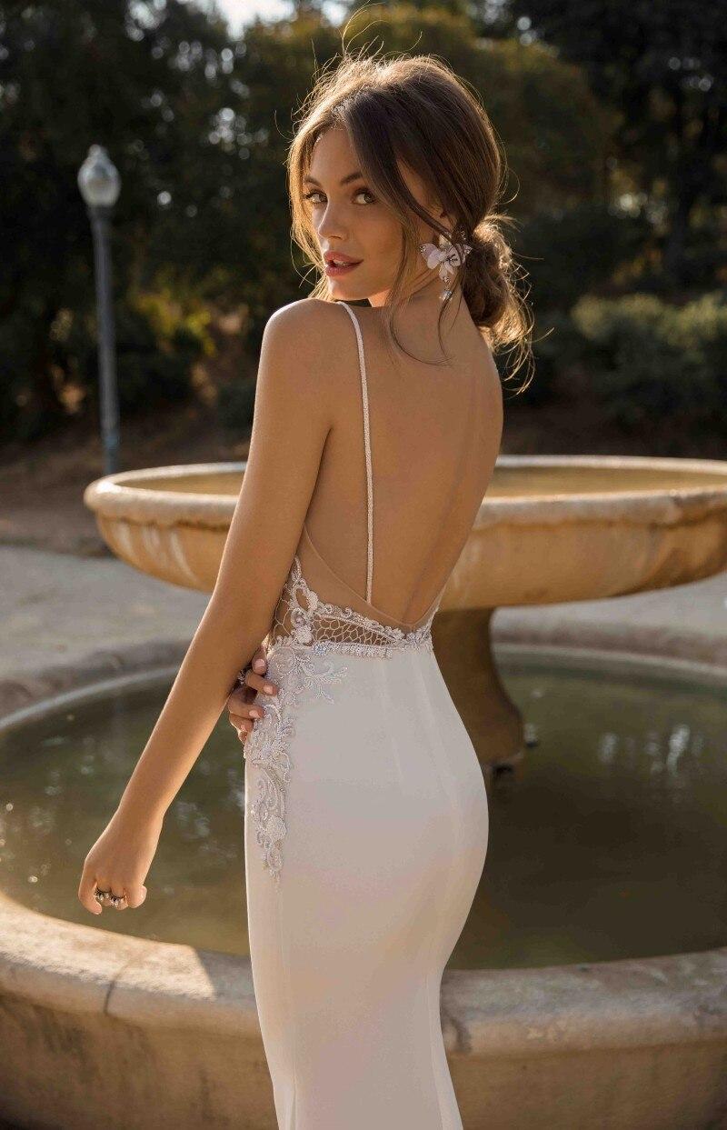 Купить с кэшбэком 2019 Sexy Spaghetti Straps Mermaid Wedding Dresses Backless Lace Beach Bridal Gowns Bohemian Wedding Dress Vestido De Novia