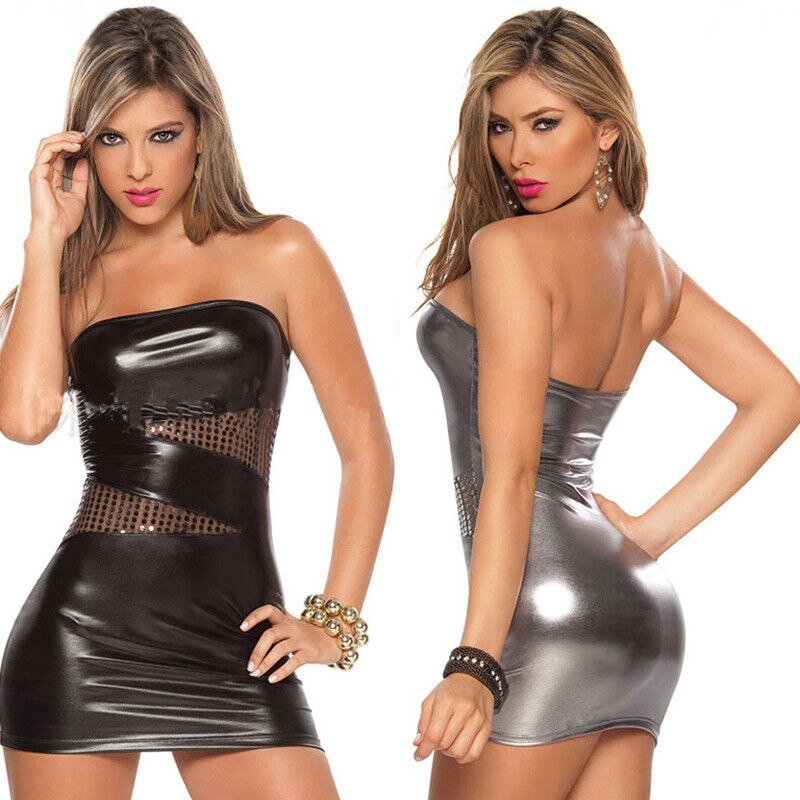 Nova senhoras de couro com zíper sexy vestido feminino molhado olhar oco fora do ombro bodycon clubwear mini vestido curto bodysuit