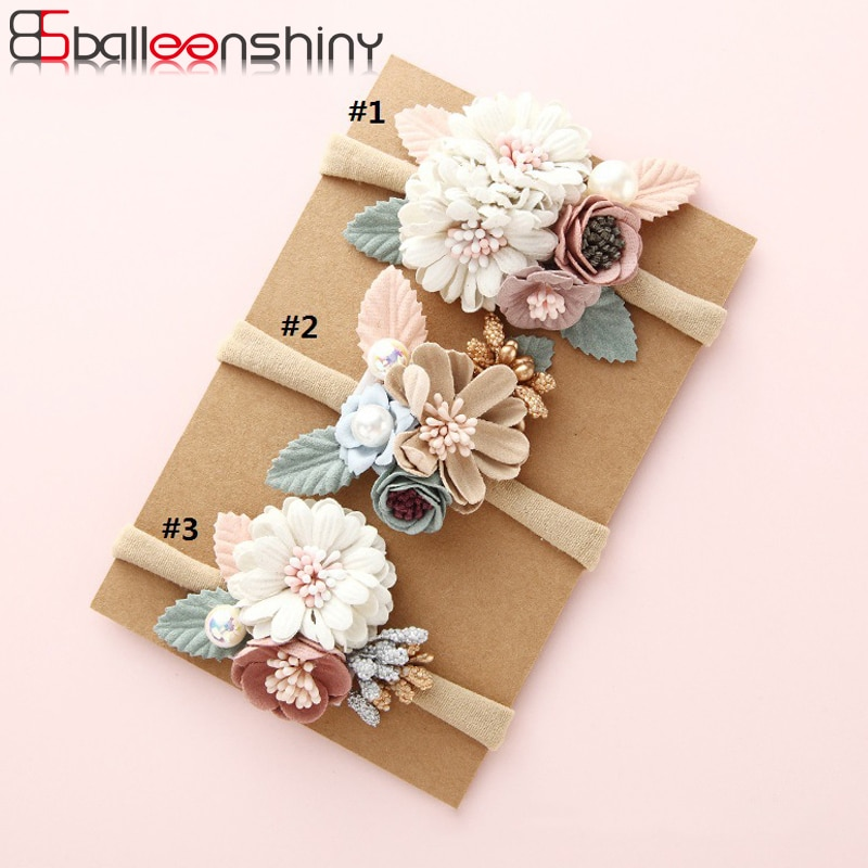 BalleenShiny Fashion Florals Headband Newborn Baby Elastic Princess Hairbands Child Kids Pearl Fresh