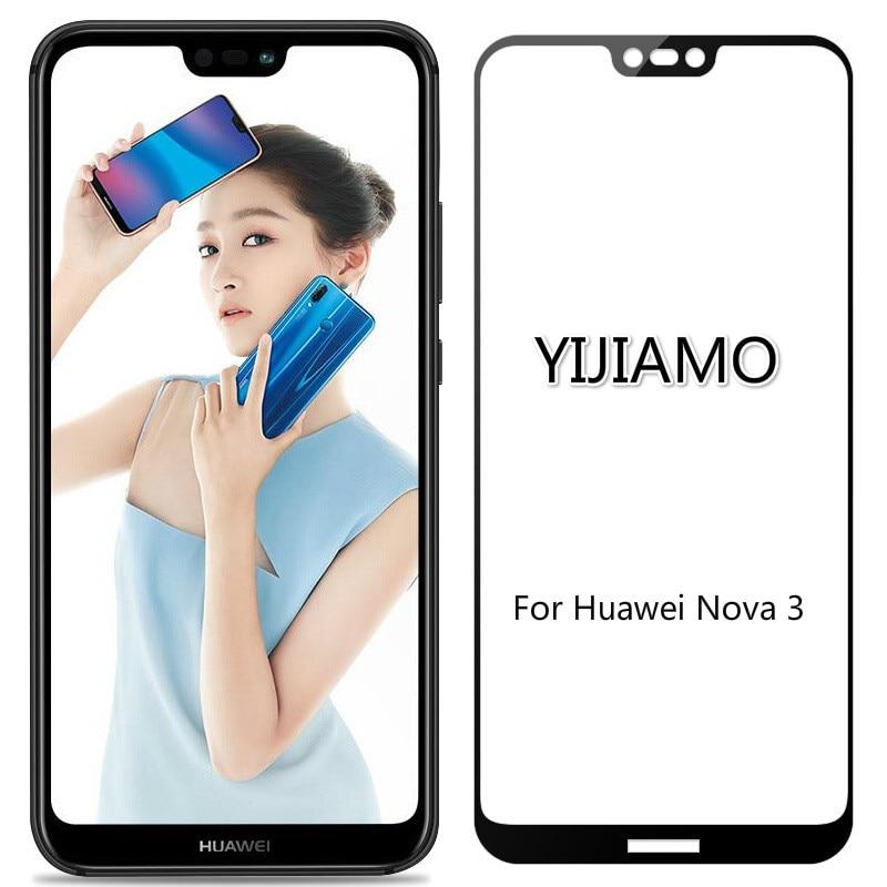 3D vidrio Protector templado para Huawei Nova 3 de la cubierta completa dureza 9H Protector de pantalla Film para Huawei Nova3 DUAL SIM 6,3 pulgadas