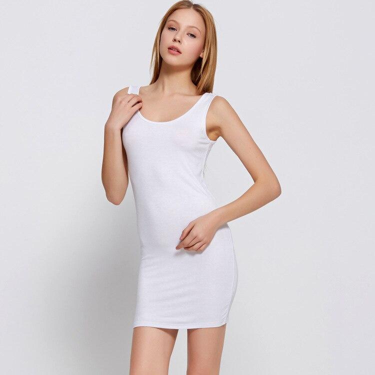 Ropa interior mini slip dress slip femme Spaghetti Strap minivestido modo sexy ropa interior algodón bottoming vestido tanque sin mangas 2019