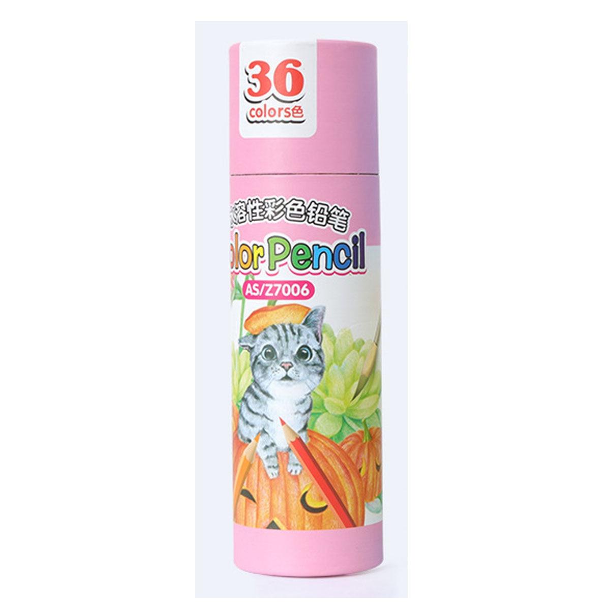 36 colores seguro no tóxico plomo Soluble en agua lápiz de color acuarela Juego de lápices para escritura dibujo arte suministros rosa