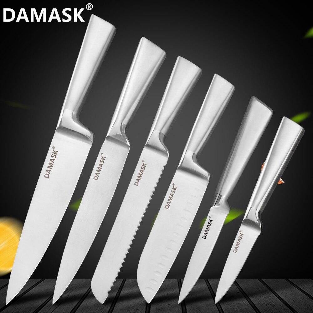 الدمشقي طقم السكاكين المطبخ المهنية 6 قطعة طقم السكاكين مع مقبض مريح التقشير فائدة Santoku الشيف الخبز تقطيع سكين أداة