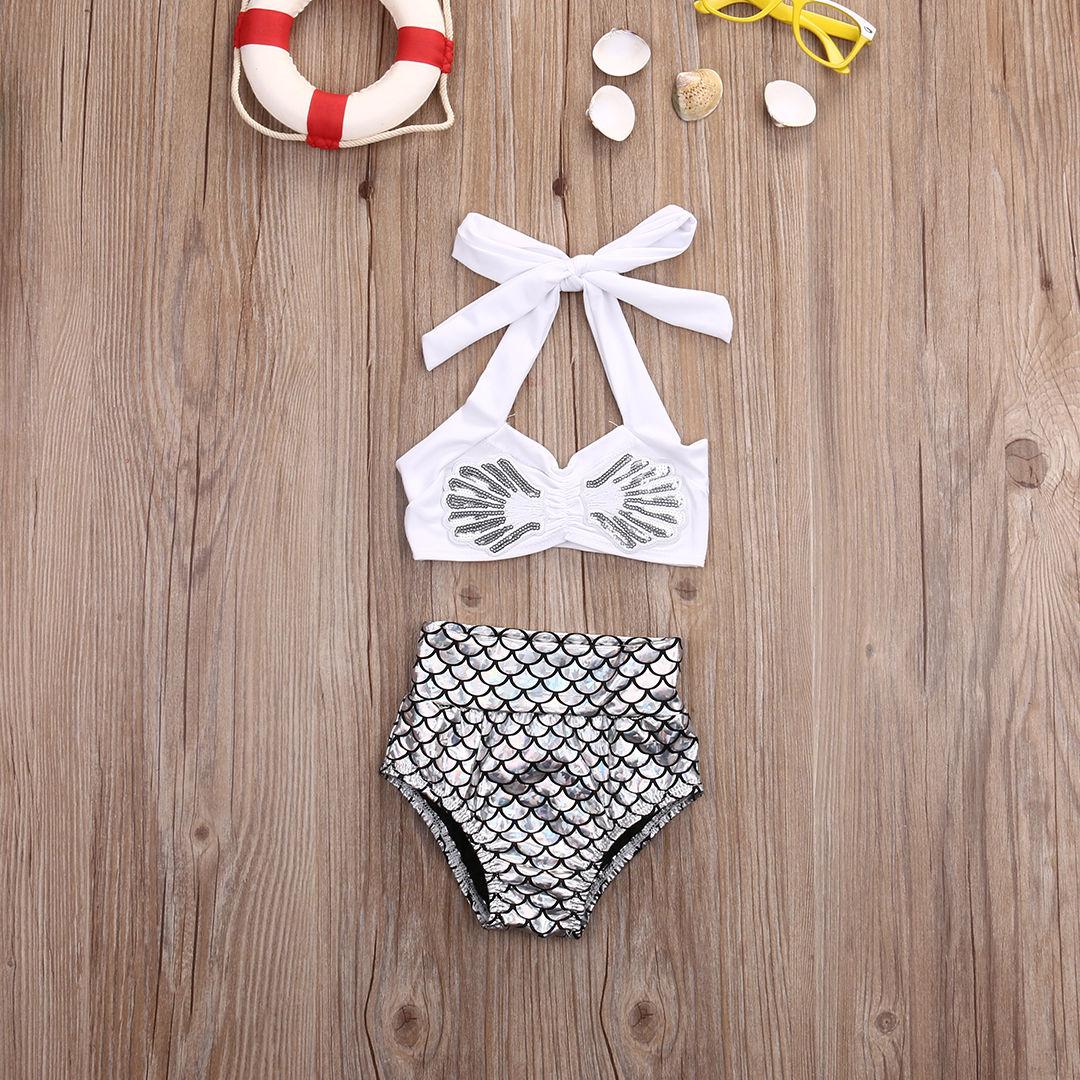 Cute Baby Girl Summer 2Pcs Bikini Set Fashion Toddler Fish Swimwear Kids Mermaid Swimsuit Infant Bathing Sets