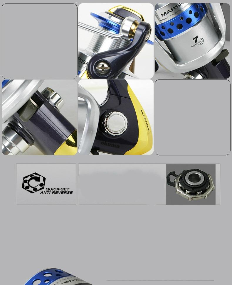 Okuma MSLII-20/30/40/45/55 Spinning Reel Fishing Gear 6+1BB Sea Pole Roller Subwheel Carp Fishing Reel Trolling Wheel 5.0:1 enlarge