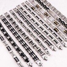 En gros 12 pcs/Lots mélange Style en acier inoxydable bijoux Bracelets pour hommes cadeaux fête poignet manchette Bracelets Top qualité