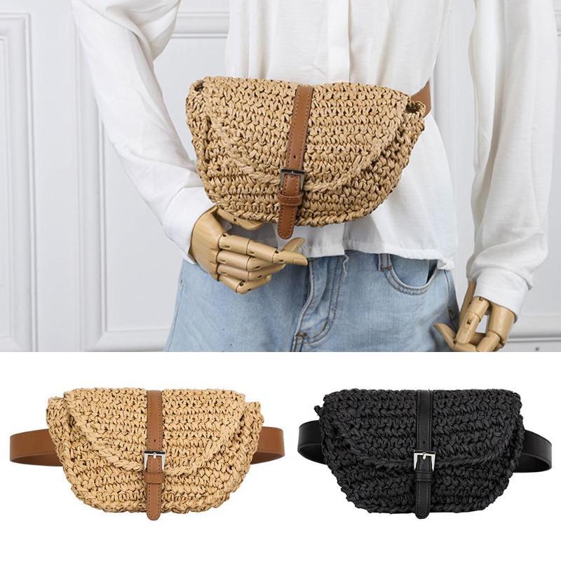 2019 HOT Women Semicircle Bolsas de paja Fanny verano playa pecho bolsa señora cintura Pack para Mujeres Hombres dinero teléfono hombro bolsa