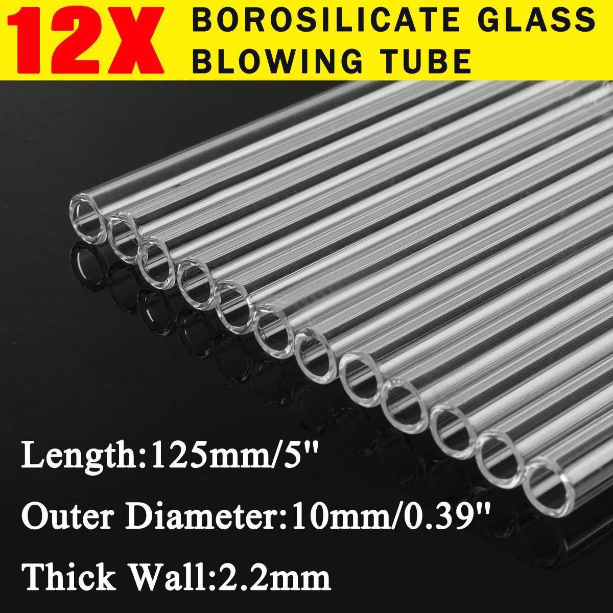 12pçs, borosilicate de parede de vidro tubo de sopro, haste de vidro, ferramentas de misturador de escola de laboratório 125mm OD-10mm mm wholesales