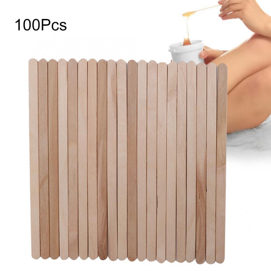 50 Uds./100 Uds. Aplicador de cera depilatoria de madera desechable palo espátula herramientas de eliminación de vello cera de depilación