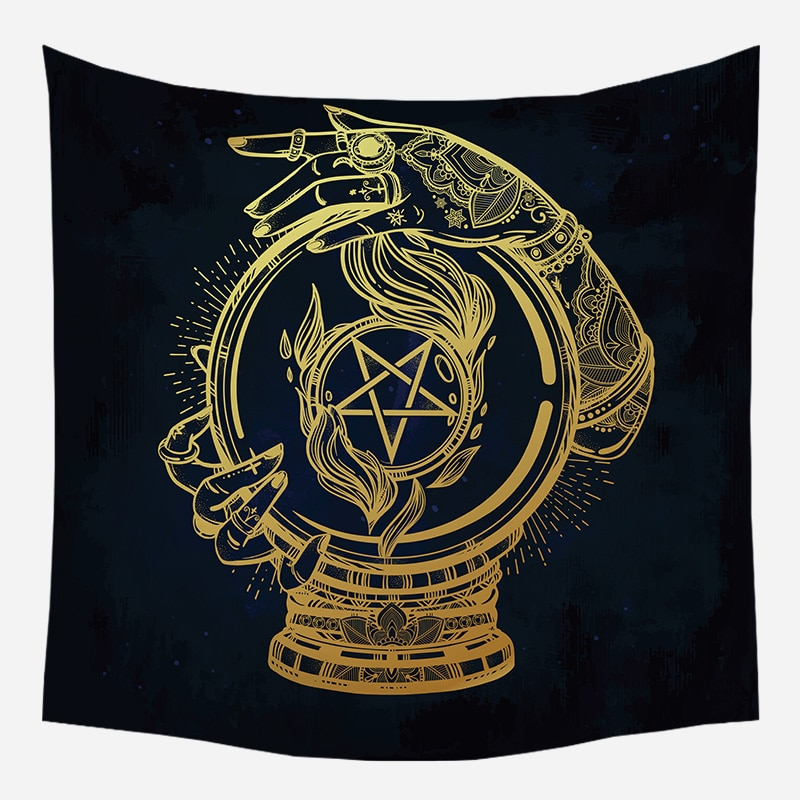 Loartee Ouija Crystal Ball Witchcraft   Tapestry Psychedelic Astrology Divination Boho Decor Mandala Wandkleed Decorative Tapiz