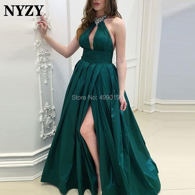 NYZY P41 Busto Aberto Sexy Alta Slit Prom Dress 2019 Verde Escuro Tafetá vestidos de festa longo Formal Vestido de Festa