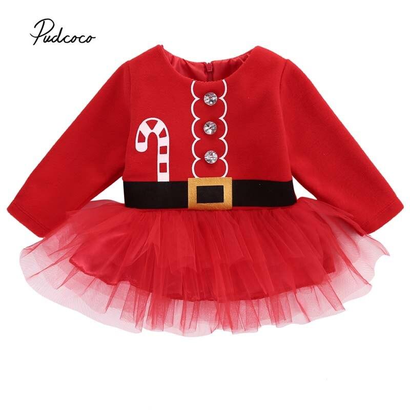 2018 Christmas Baby Dress Toddler Infant Girls Santa Claus Costume Party Wedding Belt Print Long Sleeve Tulle Tutu Dress Clothes