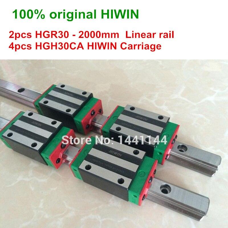 HGR30 HIWIN السكك الحديدية الخطية: 2 قطعة 100% الأصلي HIWIN السكك الحديدية HGR30 - 2000 مللي متر السكك الحديدية الخطية 4 قطعة HGH30CA النقل أجزاء التصنيع باستخدا...