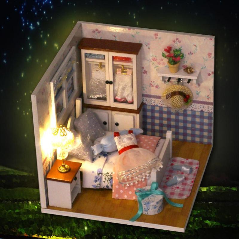 Modelo DIY de mueble miniatura para casa de muñecas con Control por voz, casa de muñecas con cubierta antipolvo, juguetes para niños, decoraciones de Navidad