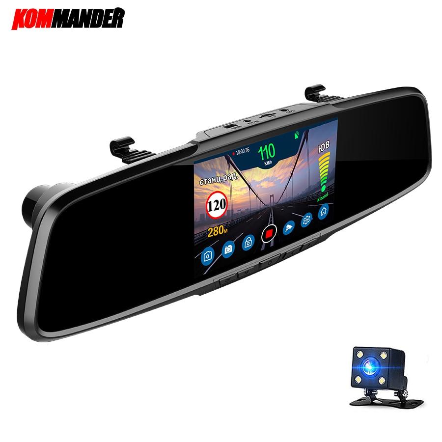 Kommander-مرآة رادار للسيارة ، مع نظام تحديد المواقع العالمي (GPS) ، 3 في 1 ، DVR ، Full HD ، 1080P ، مسجل ، كاميرا الرؤية الخلفية ، روسيا