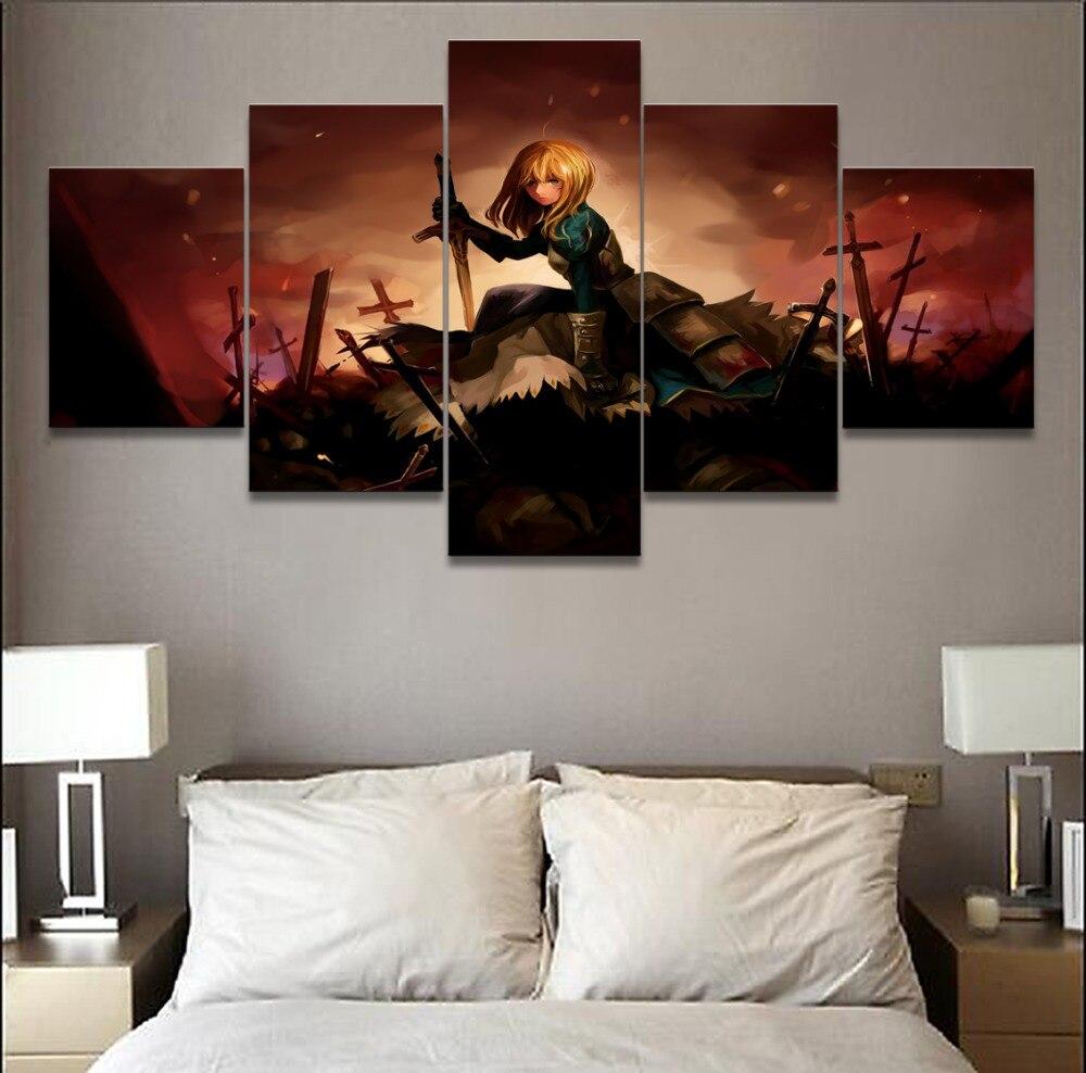 Lienzo impreso pintura decoración del hogar pared del dormitorio arte 5 piezas Anime Poster Fate Stay Saber marco Modular fotos decorativas