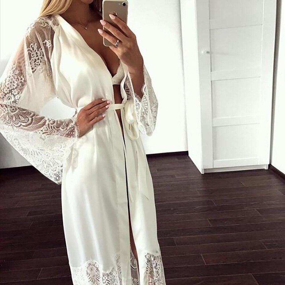 Plus size sexy pijama vestido lingerie com robe manga comprida camisola de renda com cinto sleepwear cetim feminino roupão de dama de honra