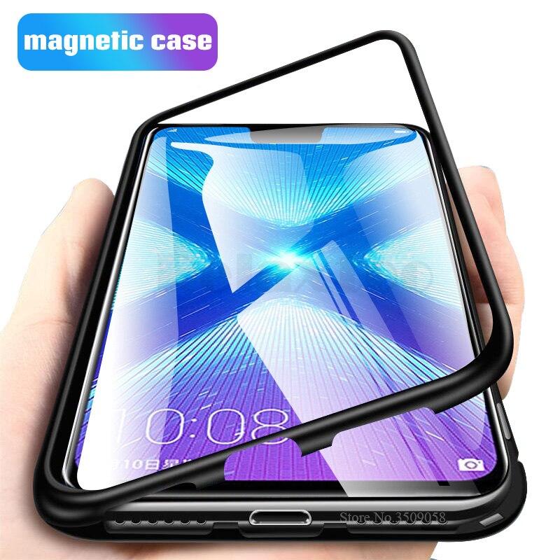 Etui magnétique pour huawei honour 8x max étui transparent verre couverture arrière cadre métallique bupmer coque de protection sur honour 8x x8