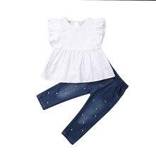 Conjunto de 2 uds de ropa de verano para niños y niñas, conjunto de Chaleco con volantes + pantalones de mezclilla con perlas