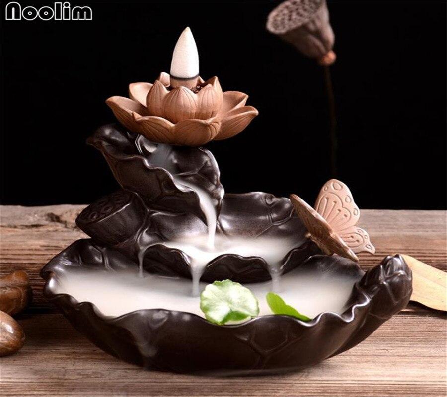 Creatieve Groene Plant Brander Waterval Wierook Houder Lotus Terugstromen Wierookvat Aroma Brander Chinese Cultuur Kantoor Thee Huis Decor