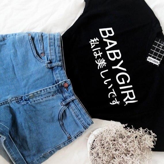 Babygirl harajuku camiseta inspirado en Tumblr Softgrunge papá pálido Grunge Harajuku camisetas moletom ¿tumblr t camisa casual tops-J997