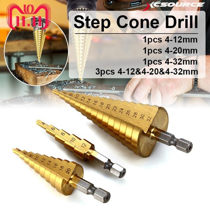 3pcs 4-12/20/32mm Large Hss Step Drill Bit Cone Drill Titanium Bit Hole Cutter Triangle Shank Steel Aluminum Step Drill Reamer
