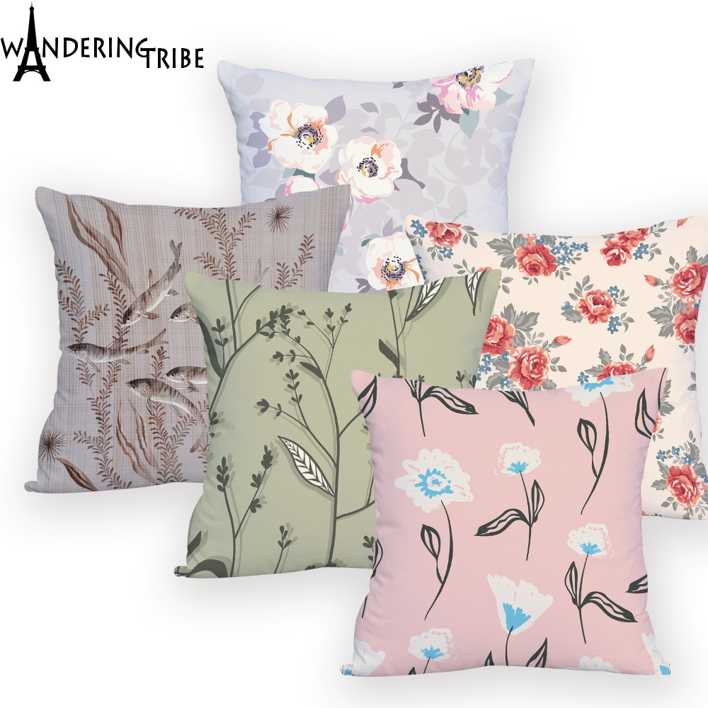 Flores almohadas tipo PUF coloridas en los diseños decorativos cojines fundas de almohada de animales rectangulares para sofá Dropship