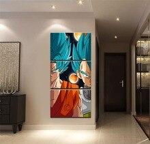 Płótno artystyczne plakat HD drukuj modułowe zdjęcia 3 sztuki Anime Dragon Ball Super obrazy Home dekoracyjny pokój dla chłopców