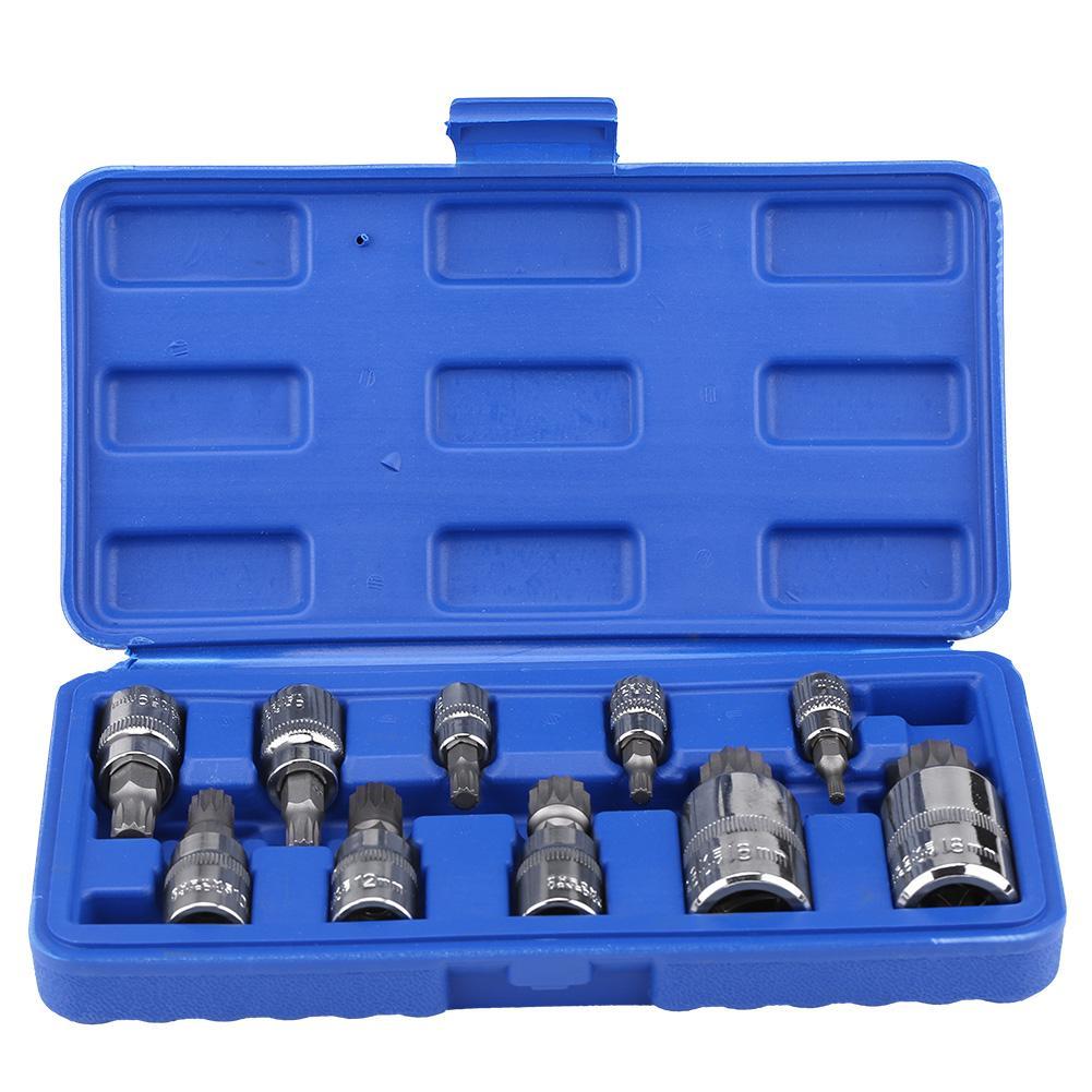 "10Pcs 12 Point Triple Square Splined Bit Socket Set M4-M18 1/4"" 3/8"" 1/2"" Drive Repair Tool Kit New"
