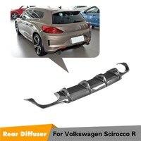 Rear Bumper Lip for Volkswagen Scirocco R R20 Bumper 2015 - 2018 Carbon Fiber Diffuser Apron Splitter car protector