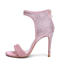 2019 été nouvelles sandales à talons aiguilles élégant mode strass rose sandales grande taille sac avec chaussures pour femmes