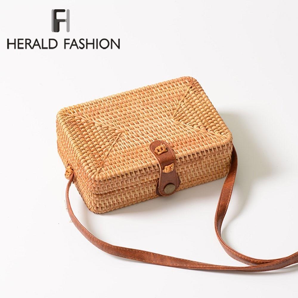 Herald Fashion Women Round Straw Bags Summer Rattan Bag Female Handmade Woven Beach CrossBody Ladies Circle Bohemia Box