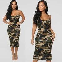 ladies womens camouflage army sleeveless shoulder straps dress summer elegant club party bodycon dress plus sizes s xxl