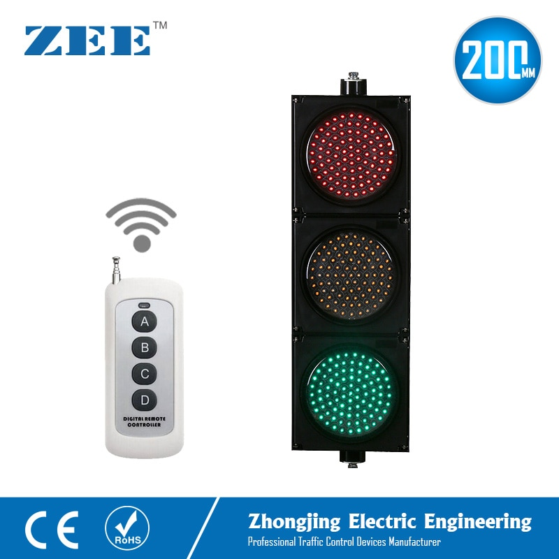 220V 110V 12V 24V Wireless Control LED Traffic Light 8inches 200mm LED Traffic Signal Light Red Green Amber Traffic Signals недорого